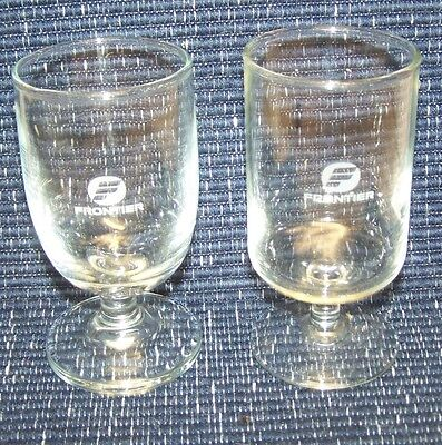 2 Different Design Vintage Frontier Airlines 1St Class Wine Glass Glasses 4 Oz