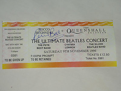 """PETE BEST............""""The Beatles""""........HAND SIGNED AUTOGRAPH ON TICKET..1996."""