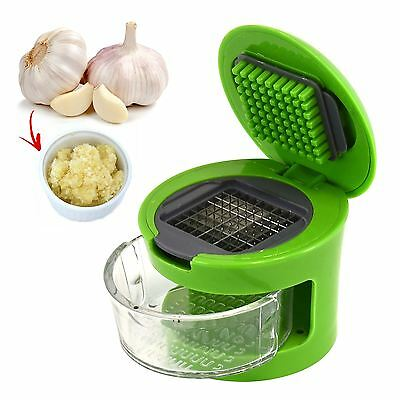 Garlic Press Slicer Crusher Dicer Chopper 2 Cutting Blades Hand Kitchen Tool Kit