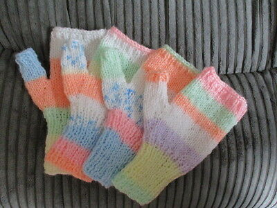 Two Pairs Girls Pastel Fingerless Gloves - Approx Age 10+ - Brand New