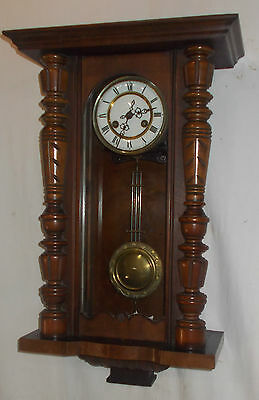 VINTAGE Wall CLOCK With WALNUT Turned COLUMNS & Chime In VIENNA Style With KEY