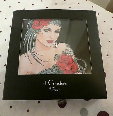 SET OF 4 COASTERS by DECO NEW/BOXED ALL DIFFERENT DESIGNS HEAT RESISTANT 90'