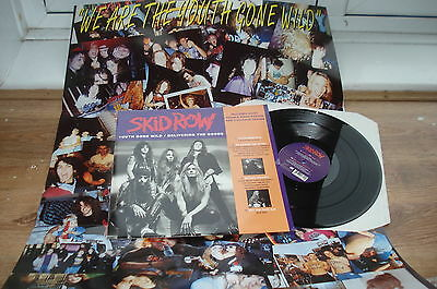 """Skid Row Youth Gone Wild POSTER BAG NM SUPERB AUDIO!! COMPLETE 1992 UK 12"""" E.P"""