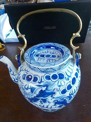 Vintage Blue & White Teapot With Brass Handle