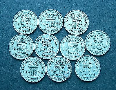 British - 10 George VI Silver Sixpence's - 1937 to 1946