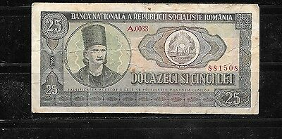 ROMANIA #95a 1966 vg CIRC 25 LEI OLD BANKNOTE BILL NOTE CURRENCY PAPER MONEY
