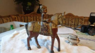 "Wooden Horse Vintage from India Wooden Hand Carved, Painted  9.5"" Tall"