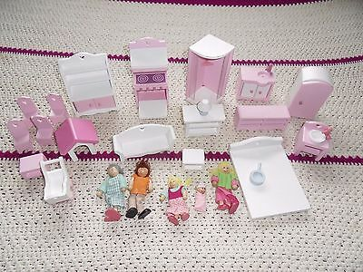 ECL wooden Dolls house furniture & dolls  job lot mixed 25pc pink & white