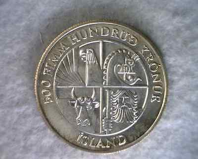 ICELAND 500 KRONOR 1974 BU LARGE SILVER COIN (stock #0605)
