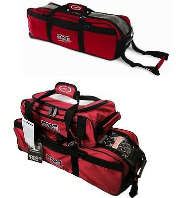 TWO Red Storm 3 Ball Tournament Tote Bowling Bags 1 With Shoes and 1 Without