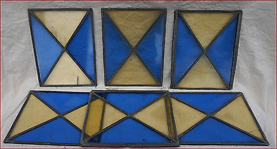 French Stained Glass Window Panels Set of 6 Blue Yellow 19th C