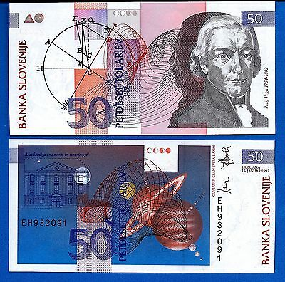 Slovenia P-13 50 Tolarjev Year 15.1.1992 Uncirculated Banknote FREE SHIPPING