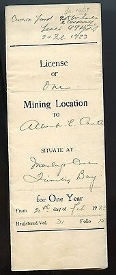 Rare 1923 Newfoundland Licence of Mining Location for one Year Marley's Cove TB