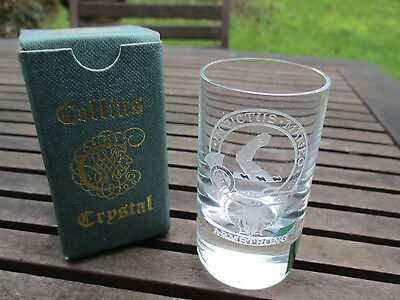 Collins Crystal Shot Glass ARMSTRONG - new + boxed