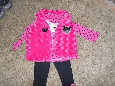 Young Hearts Girl's 3 Piece Outfit -Leggings/Top/Vest Size 18 months  NWT