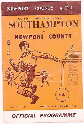 Newport County v Southampton FA cup replay 1968 Programme