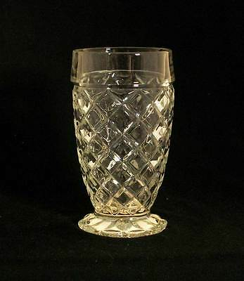 Anchor Hocking USA Waterford Clear AKA Waffle Crystal 10 oz. Footed Tumbler