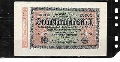 GERMANY GERMAN #85a 1923 20000 MARK VG CIRC OLD BANKNOTE BILL NOTE PAPER MONEY