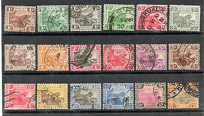 MALAYA Federated Malay States Tiger issue (18) Used. Values to 50c