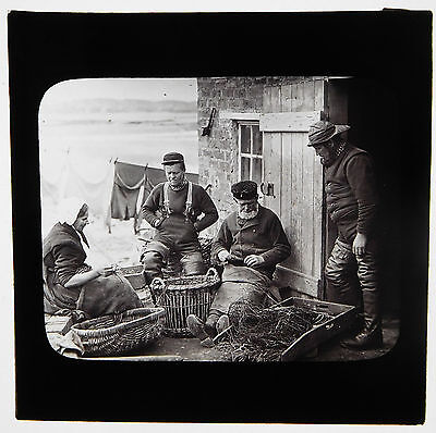 Magic lantern slide-SCOTLAND, Group of Fisher Folk, probably in the Orkneys