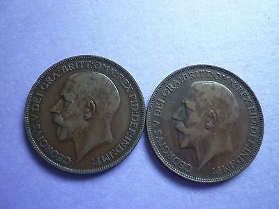 GT BRITAIN - 2 x GOOD COLLECTABLE GRADE 1926 GEORGE V BRONZE PENNIES