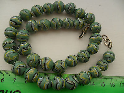 Venetian ? or czech heavy glass swirled or feathered beads necklace art deco ??