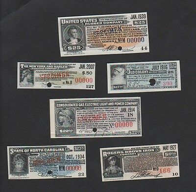 American Banknote Co. Interest Bond Coupons Collection incl. SPECIMEN