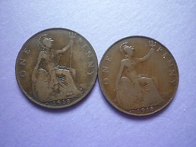 Gt Britain - Collectable Grade 1918H & Scarce 1918Kn George V Pennies