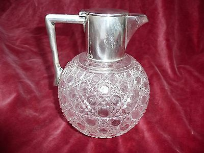 Antique Sterling Silver Topped Cut Glass Water / Wine Pitcher Jug 1908 Garrard