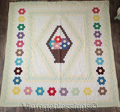 "Vintage 30s Flower Basket in Garden QUILT  81"" x 78"" Cottage Sweet"