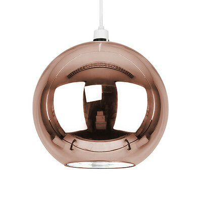 Modern Copper Glass Mirror Ball Ceiling Pendant Light Lamp Shade Lights Shades