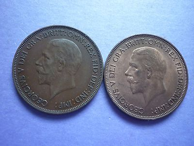 Gt Britain - High Collectable Grade 1935 & 1936 George V Bronze Pennies