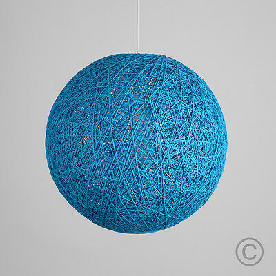 Modern 8 Inch Teal Rattan / Wicker Ball Ceiling Pendant Light Shade Lampshade