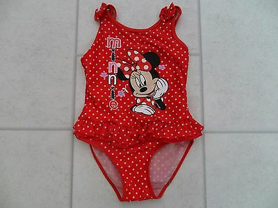 Cute Girls Mothercare Red Polka Dot Minnie Mouse Swimsuit Age 3/4 Years