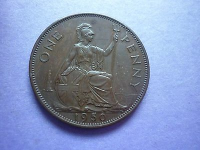 Gt Britain - Scarce Almost Uncirculated 1950 George Vi Penny