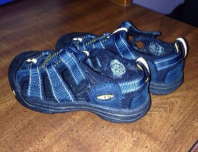 Toddler KEEN Shoes Size 7 Blue Leather Nylon W/ Velcro Straps