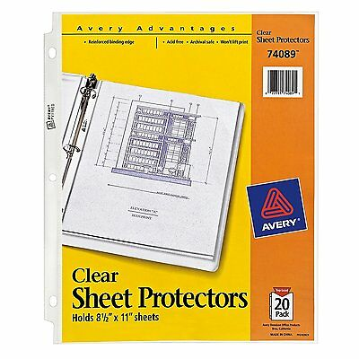 1000 Lot AVERY® Advantages Sheet Protectors Clear Top Load 8.5x11 50 Packs 1,000