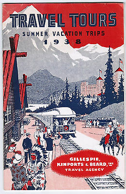 Travel Tours Summer Vacation 1938 Illustrated USA Europe South America