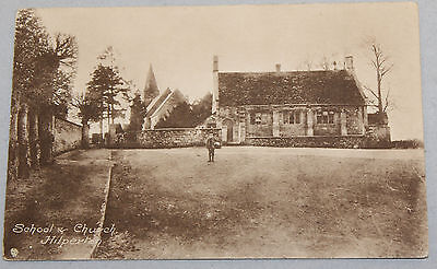 Vintage Sepia Postcard School And Church Hilperton By Wilkinson & Co Unposted