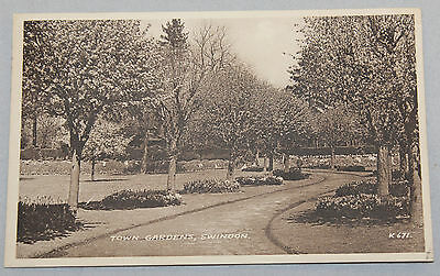 Vintage Sepia Postcard Town Gardens Swindon By Valentine & Son's  Posted