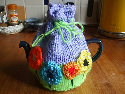 Hand Knitted Floral Tea Cosy For Small Teapot  Floral