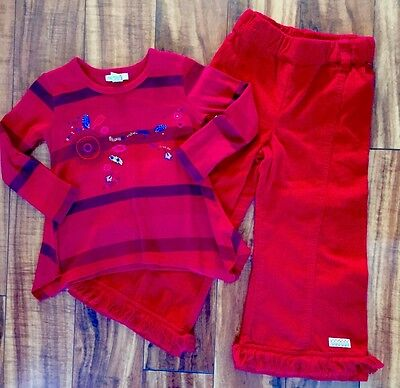 Naartjie Girls Red Shirt and Pants Outfit Size 3 4 3T 4T Months EUC NWT