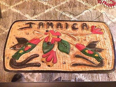 "Lovely Jamaica Hand Carved Hand Painted Hummingbird Wood Art 16"" x 8"""