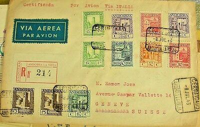 Spanish Andorra 1943 Registered Airmail Cover To Geneva, High Values On Cover