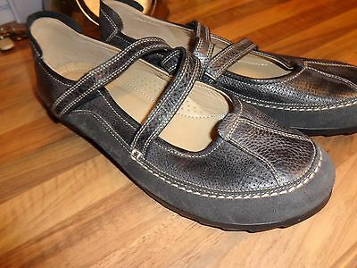 Ecco Comfort  Black  Flat Strapped Shoes Ladies Size 9 Uk Vgc Used Hardly Worn