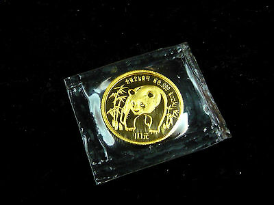 China, 10 Yuan, 1986, Panda, Gold/999.! orig.! St.! in Original-Folie.!