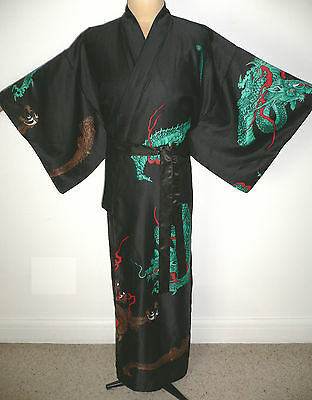Japanese, Men's Long Black Silky, Kimono Style, Dressing Gown Robe, Dragons