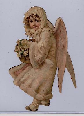 "Snow Angel with Glitter Extra Large Victorian Die Cut Scrap 9x6"" Poor Condition"