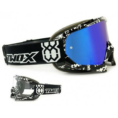 TWO-X Race Crossbrille MX Enduro Brille Text Spiegelglas verspiegelt blau