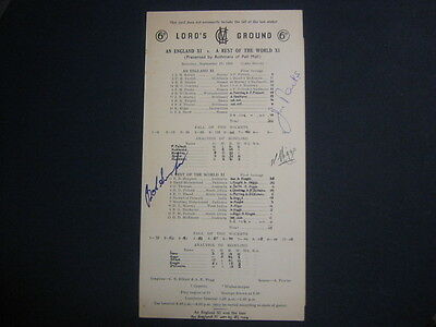 England X1 V Rest Of The World Scorecard 1966 Signed By 3 Simpson/higgs/parks
